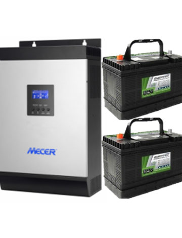3KVA Pure Sine Wall-mounted Inverter with 2x 105Ah Deep Cycle Batteries