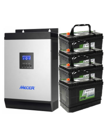 3KVA Pure Sine Wall-mounted Inverter with 4x 105Ah Deep Cycle Batteries
